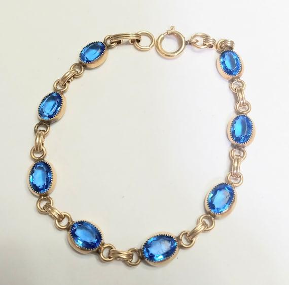 Faceted Saphire Blue Quartz Gemstones on an Vintage Gold Filled Stretchy watchband