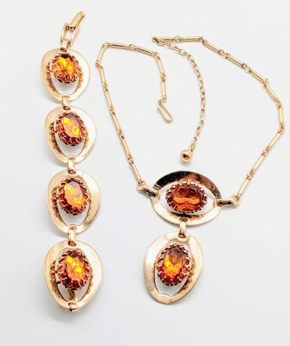 "Vintage Sarah Coventry ""Amber Glory"" necklace brac"