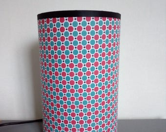 Table lamp cylindrical pop fabric with large pink and blue dots on white background