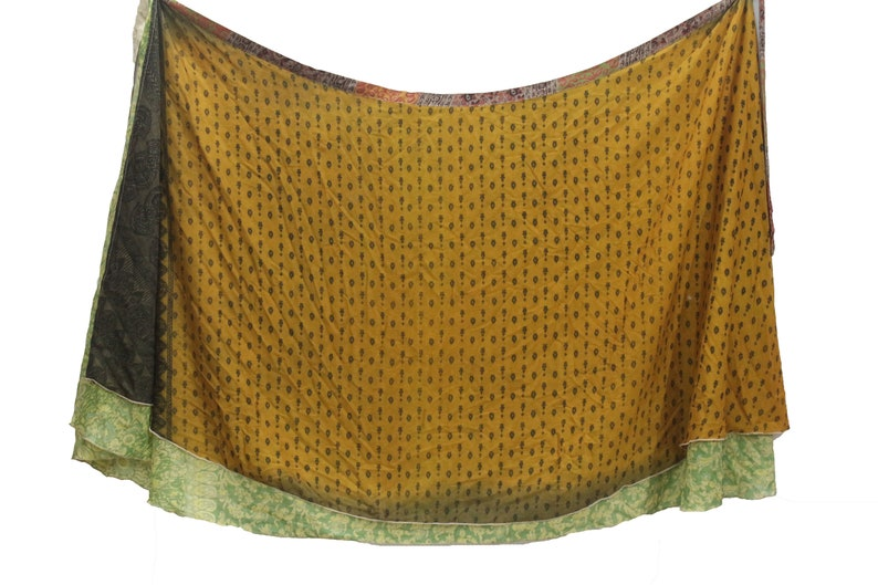Indian Reversible Long Floral Beautiful Silk Sari Wrap Skirt Magic Two Layer Silk Sari Wrap Skirt Vintage Women Clothing Beach Skirt Gypsy