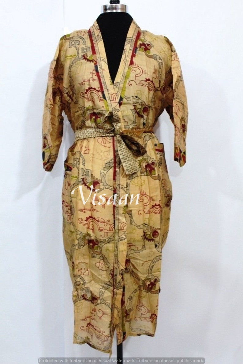 Vintage Silk Caftan Robe Handmade Pure Silk Sari Kimono Robe Vintage Night Gown Soft Bathrobe Women/'S Beach Wear Dress Silk Kaftan Robe