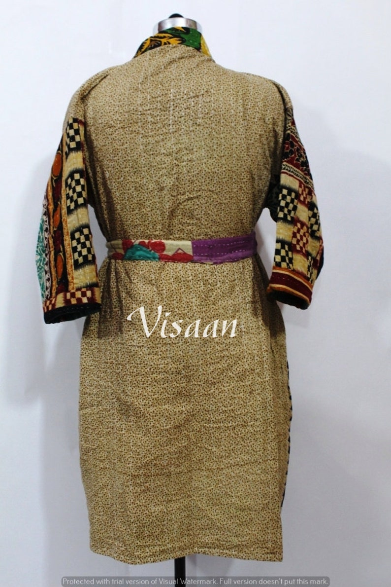 Kantha Jacket Winter Wear Indian Handmade Bath Robe Kimono Reversible Kimono Free Size Long Kimono