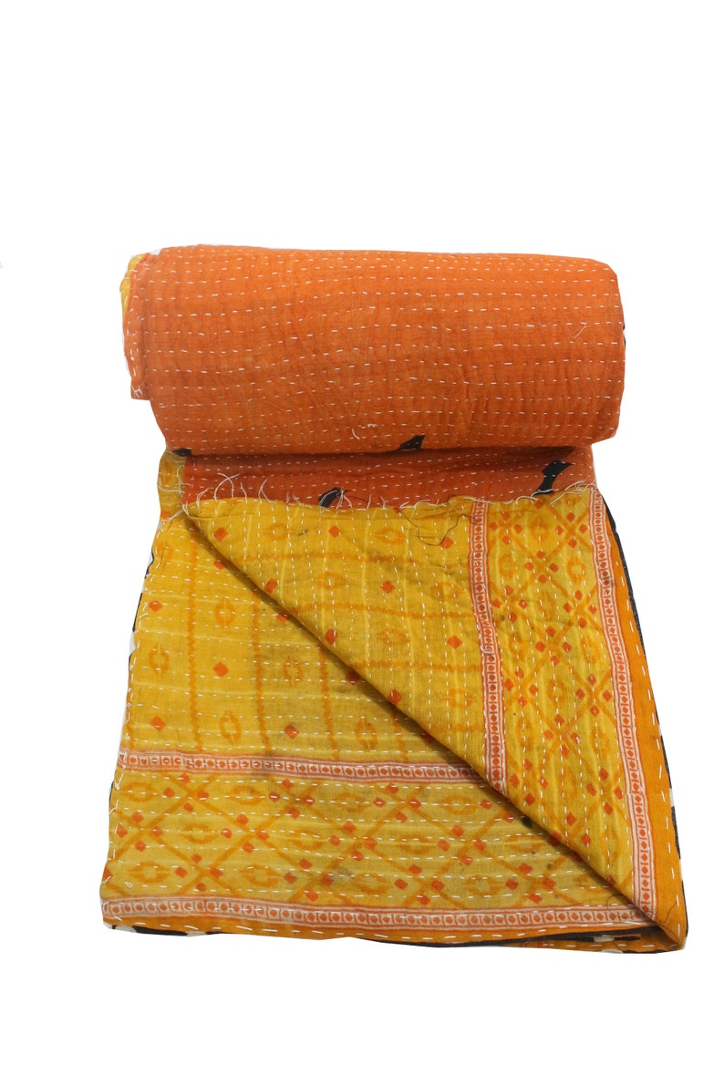 Indian Handmade Twin Kantha Quilt Throw Orange Bedding Bedspread Hippie Blanket Bohemian Vintage Kantha Coverlet Throw Bed Sheet Vs 33
