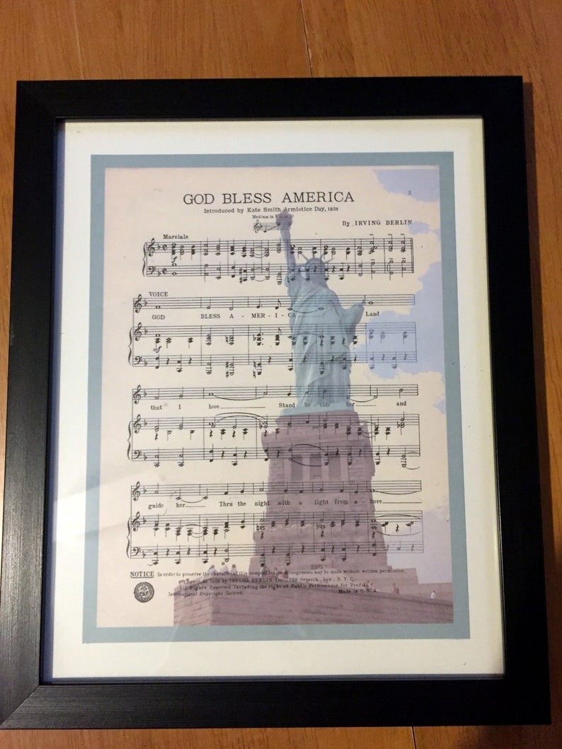 photograph about Free Printable God Bless America Sheet Music named Common Sheet Audio with Photograph Overlay, Framed 8 x 10 Print, cost-free transport