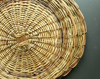 DOBA - Natural Round Hand Woven Rattan Dish Platters 2 Pieces