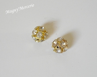 Gold filled beads 14 mm set of 2 gold metal