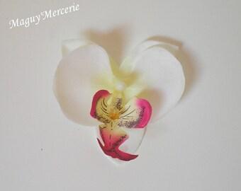 Set of 3 ivory fuchsia orchid flower