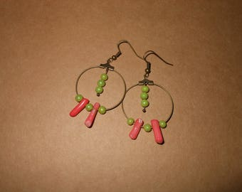 creole earrings green and coral