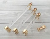 3.75 quot 5 quot 6.3 quot Acrylic Drawer Pull Handles Knobs Clear Gold Dresser Pulls Modern Kitchen Cabinet Door Handle Pull Knob Decor 96 128 160 mm
