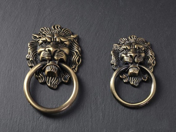 Lion Drawer Pull Knobs Handles Dresser Drop Ring Pulls Etsy