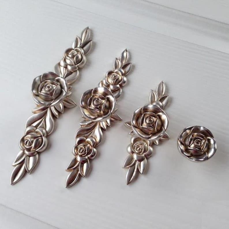 Shabby Chic Dresser Pull Drawer Pulls Door Handles Knobs Antique Brass Rose Flower Cabinet Handles Pull Knob Handle French