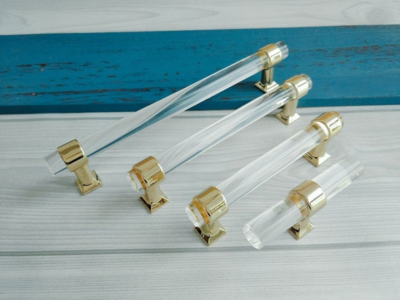 Adjustable Holes Space Acrylic Drawer Pull Handles Knobs Clear Etsy
