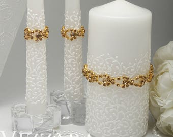 White Unity candles set Candles White Unity Ceremony Set accessories Wedding unity candles set Decor Wedding gold Unity Candles White gold