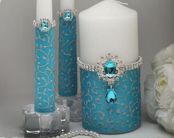 Unity Candle Set Coral And Turquoise Wedding Unity Candles For Etsy