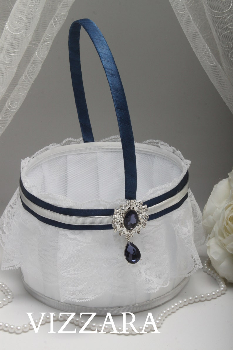 27814dc2a8919 Flower girl basket Navy blue wedding Flower girl basket ideas | Etsy