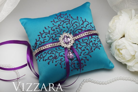 Ring Pillow Purple And Turquoise Wedding Pillow Ring Turquoise Etsy