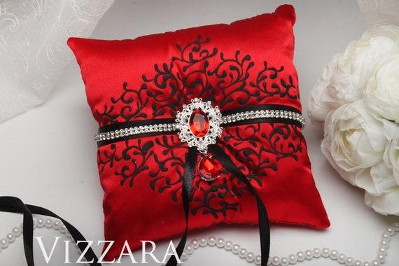 Ring Pillow Red And Black Wedding Wedding Ring Bear Pillows Etsy