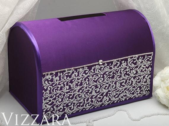 Wedding Card Box For Envelopes Purple Wedding Silver Box Card Etsy