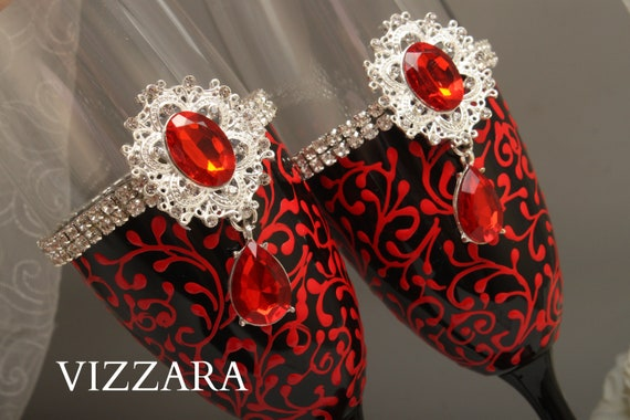 Wedding Champagne Flutes Red And Black Wedding Unique Etsy