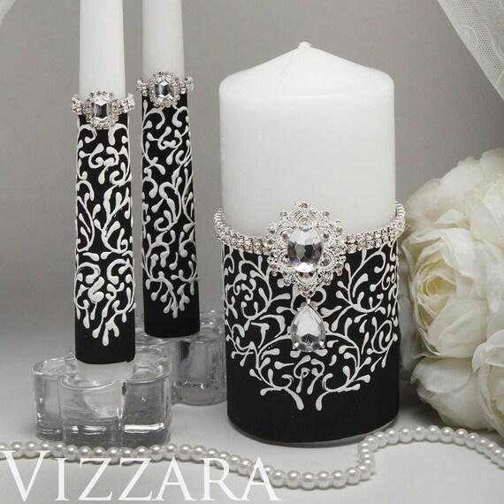 Unity Candles Black And White Weddings Wedding Unity Candles Etsy