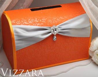 Wedding card holder Orange and grey wedding Wedding card holder ideas Orange wedding Card holder for wedding Grey and orange wedding