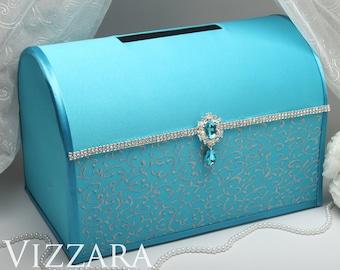 Wedding card holder Turquoise and grey wedding Wedding card holder ideas Turquoise wedding ideas Turquoise wedding colours