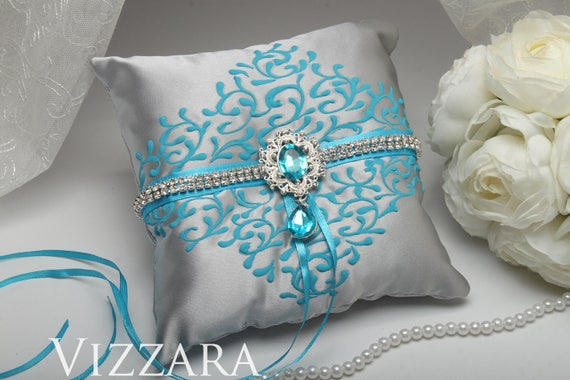 Ring pillow Turquoise and grey wedding Ring pillow ideas Grey | Etsy