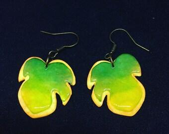 Earrings biscuit tropical leaves