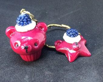 Keychain Kawaii Bear Cupcake polka dot bow.
