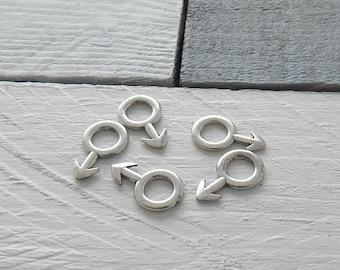 male symbol Pendant.  Size 24 mm high x 14 mm. Zamak silver plated.