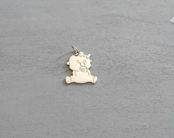 Pendant girl silver 925. 12x20mm.