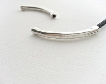 1 connector tube irregular -  40mm. - Not through - Zamak - for bracelet DIY - sterling silver plated - Antique silver