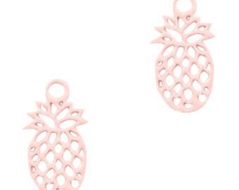 Pineapple mini pendant. 11x6mm 5 units. light pink