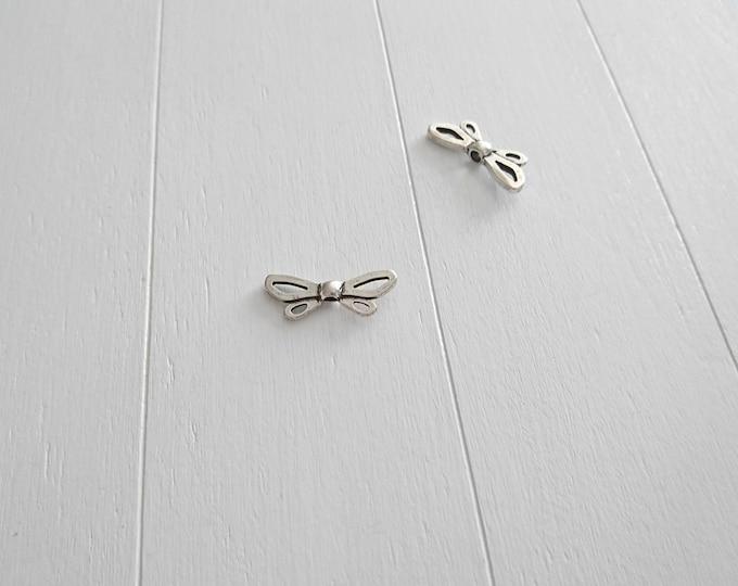 Dragonfly wings. 27x11mm 3mm inner pass. Zamak bathroom silver. DIY