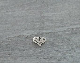 "Hanging heart zamak silver bathroom ""like you there is nobody"". 24x20mm DIY silver zamak"