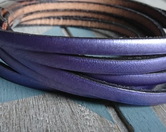 Metallic purple leather. 5x2mm 1 meter. leather for bracelets. European leather of high quality.