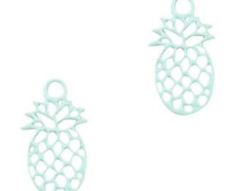 Pineapple mini pendant. 11x6mm 5 units. turquoise green