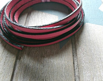 Coral pink leather. 5x2mm sale for 1 meter. High quality European leather
