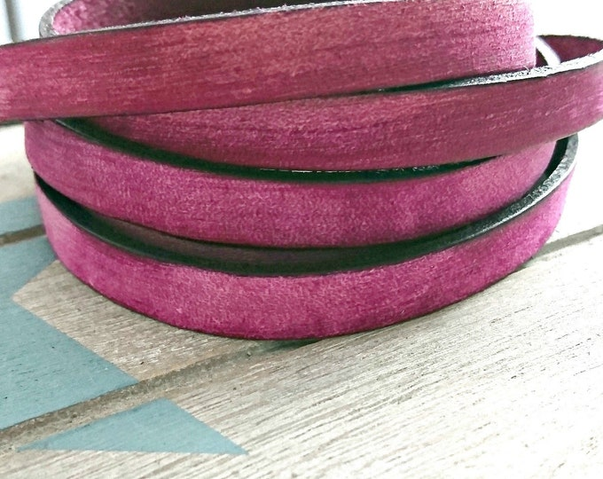 Fuchsia vintage leather. 10x2mm sale for 1 meter. High quality European leather