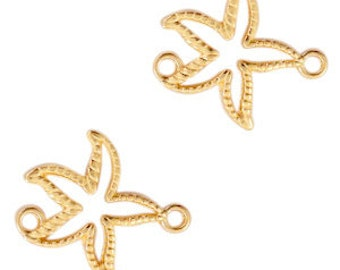 Golden sea star connector. 18x16mm. 1 unit. brass gold