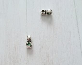 Swarovski green pendant. 14x7mm 1 unit. Pendant for bracelet or necklace. Metal zamak silver
