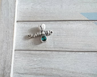 Swarovski Green and Zamak connector silver-plated.  Dimensions: 29x38mm
