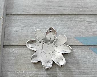 Flower pendant XL - necklace charm - 57x52mm. - bead - silver plated zamak