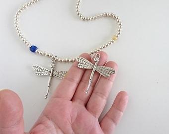 2 dragonfly pendant of 5cms. silver zamak