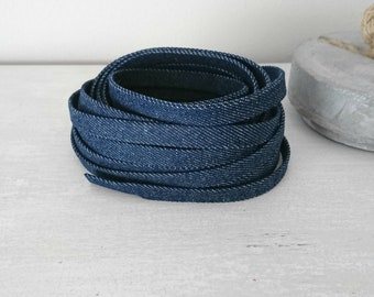 Denim fabric strip. dark blue. 10mm Cowgirl strip for bracelets.