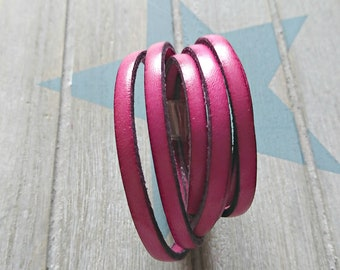 Fuchsia pink leather. 5x2mm sale for 1 meter. High quality European leather