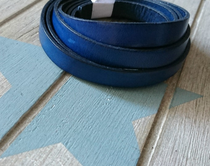 Dark blue leather. 10x2mm sale for 1 meter. High quality European leather