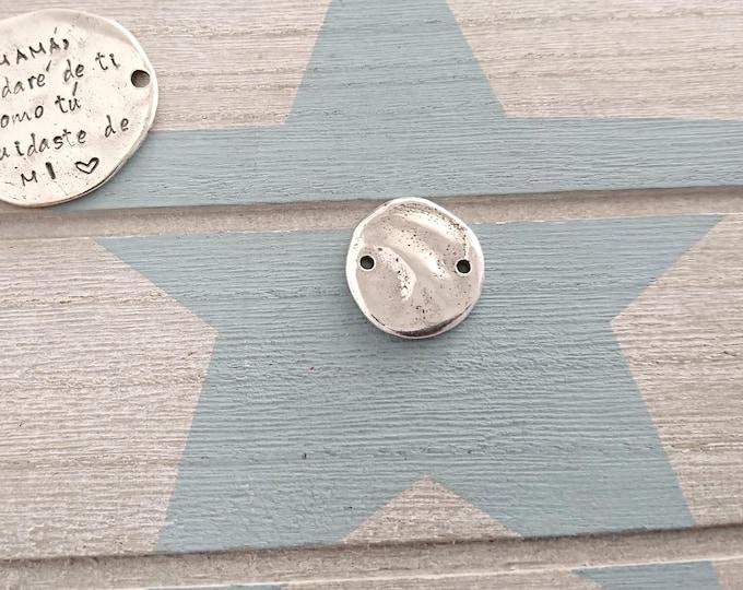 Irregular round piece 20mm. special engraving. Antiallergic Pewter