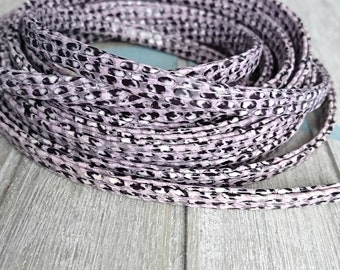 Flat strip 5mm. imitation snake in purple, black and white colors. 1 meter