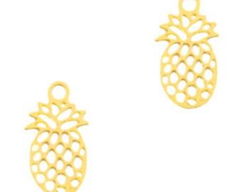 Pineapple mini pendant. 11x6mm 5 units. Golden